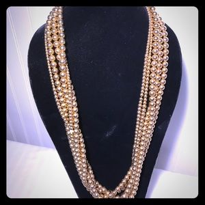 Long Gold Ball Multi Strand Bead Necklace